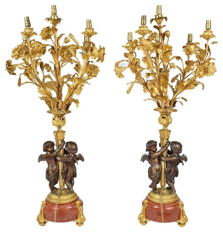 Large Pair of French Louis XVI Style Candelabra In Good Condition For Sale In Brighton, Sussex
