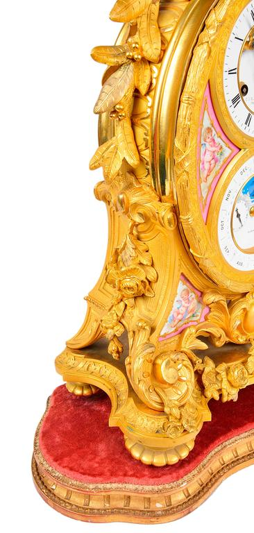 French Ormolu Calendar Mantel Clock, 19th Century In Good Condition For Sale In Brighton, Sussex
