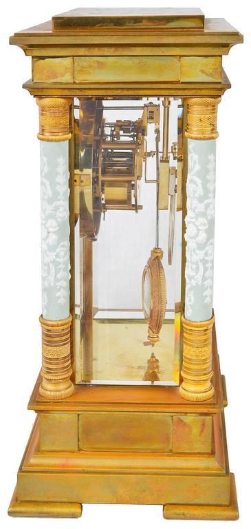 Porcelain French Ormolu Mantel Clock, 19th Century For Sale