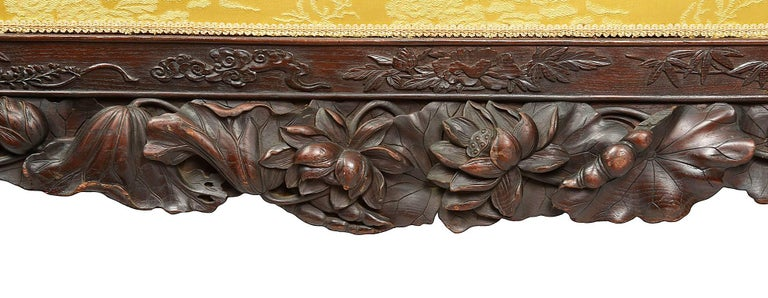 Japanese Oriental Carved Sofa, 19th Century For Sale