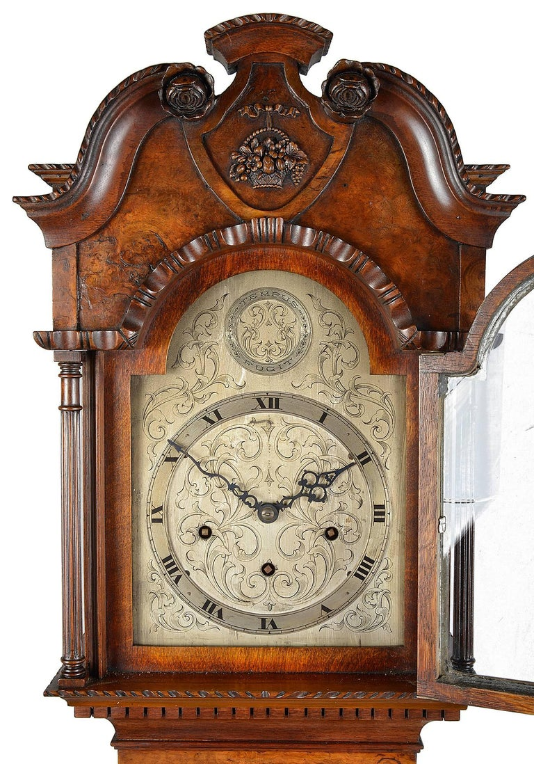 Queen Anne Style Walnut Grandmother Clock at 1stdibs