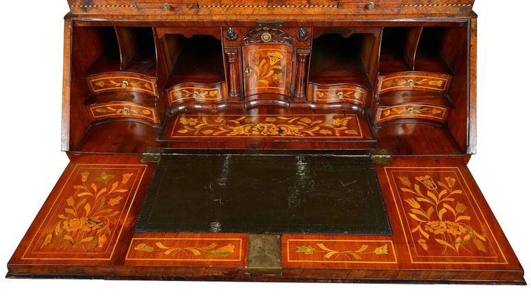 18th Century Dutch Marquetry Bureau Bookcase In Excellent Condition For Sale In Brighton, Sussex