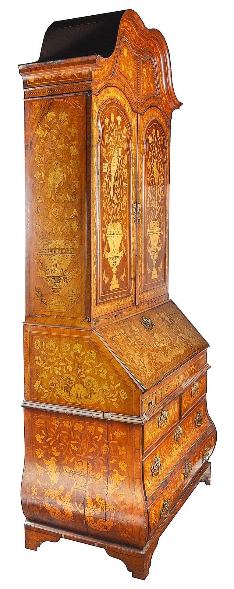 Dutch Colonial 18th Century Dutch Marquetry Bureau Bookcase For Sale