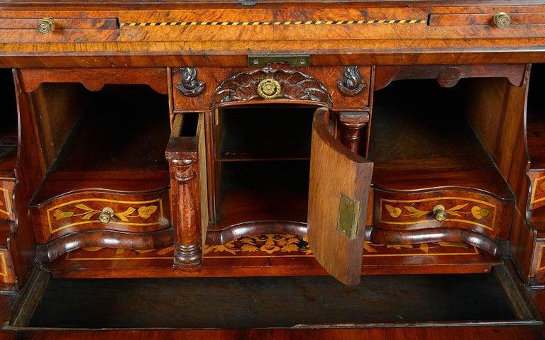 Walnut 18th Century Dutch Marquetry Bureau Bookcase For Sale