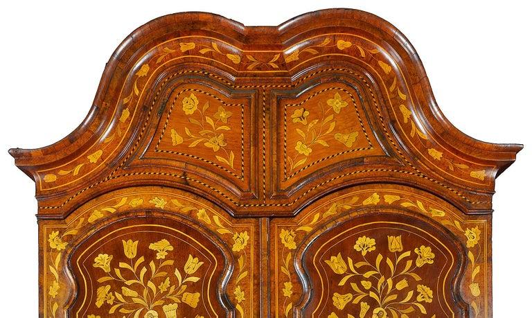 18th Century Dutch Marquetry Bureau Bookcase For Sale 1