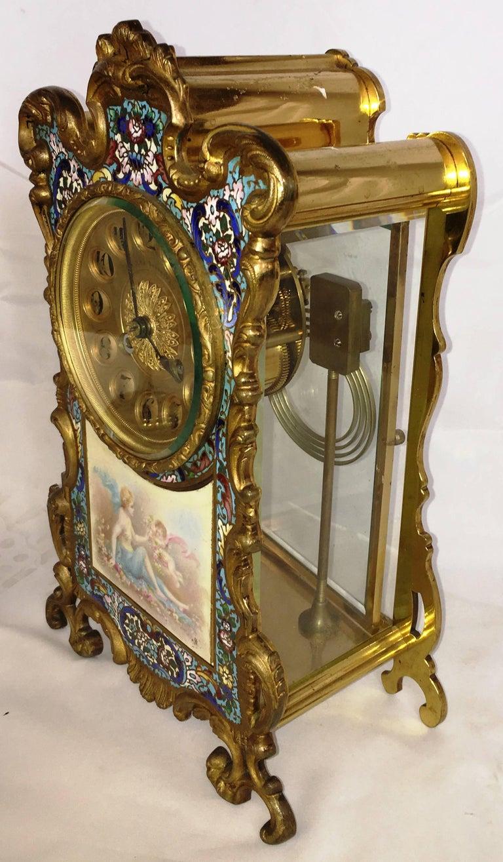 French, Louis XVI Style Enamel Clock Set, 19th Century For Sale 2