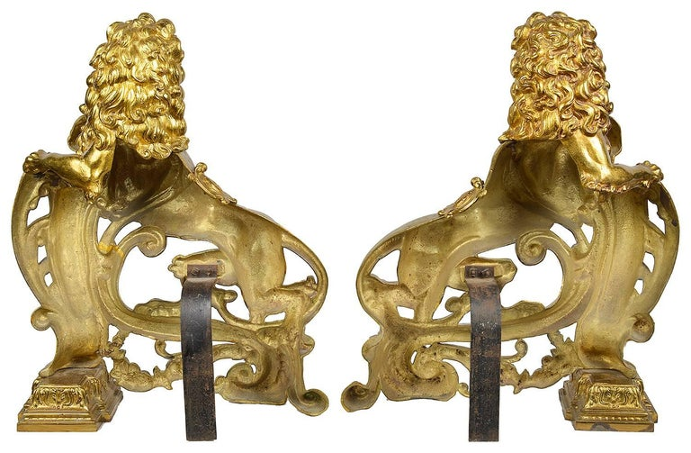 French Pair of 19th Century Lion Fire Dogs or Chenets For Sale