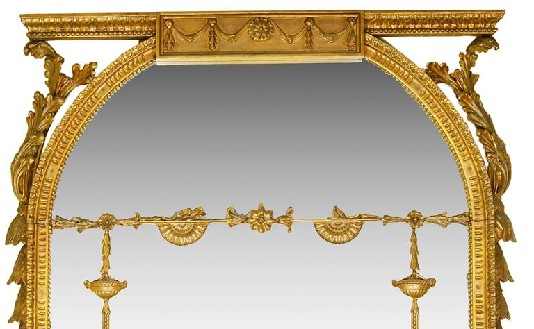 Hand-Carved Large Pair of Georgian Style Gilded Wall Mirrors For Sale