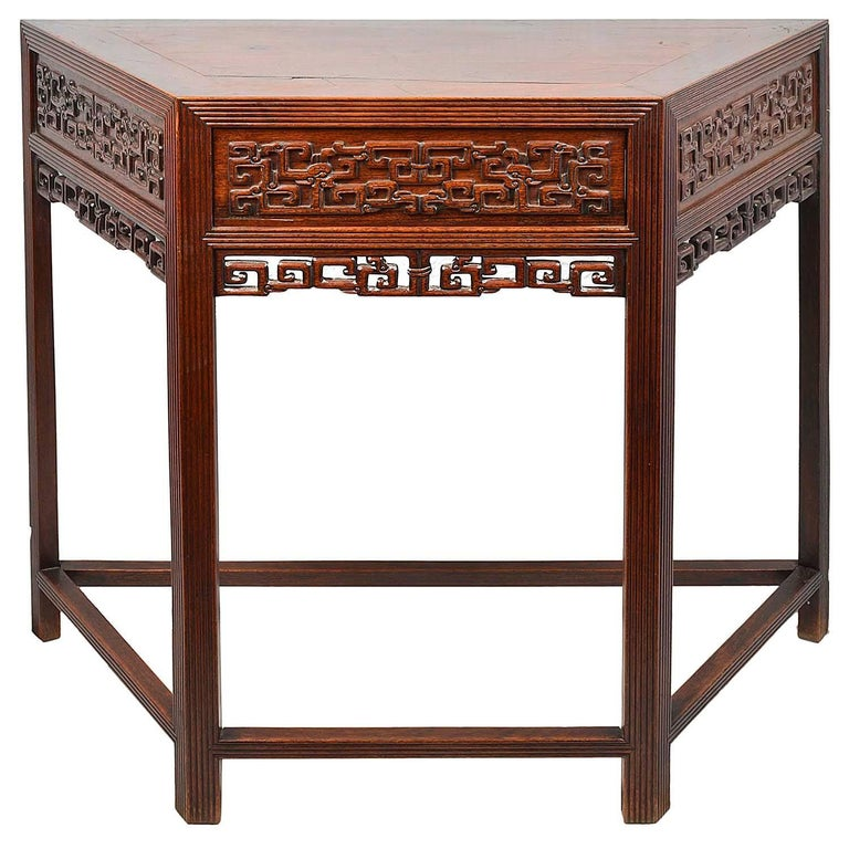 Chinese Export 19th Century Pair Chinese Hardwood Console Tables For Sale