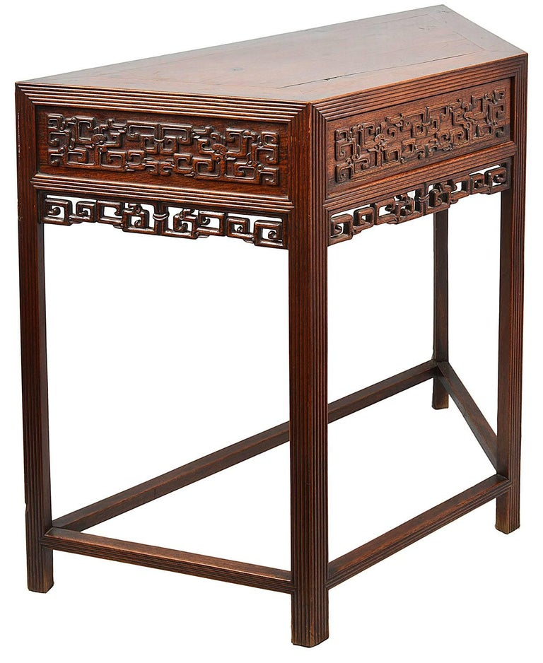 Hand-Carved 19th Century Pair Chinese Hardwood Console Tables For Sale