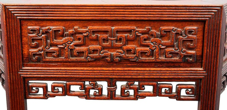19th Century Pair Chinese Hardwood Console Tables In Good Condition For Sale In Brighton, Sussex