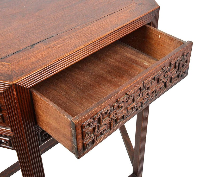 19th Century Pair Chinese Hardwood Console Tables For Sale 1