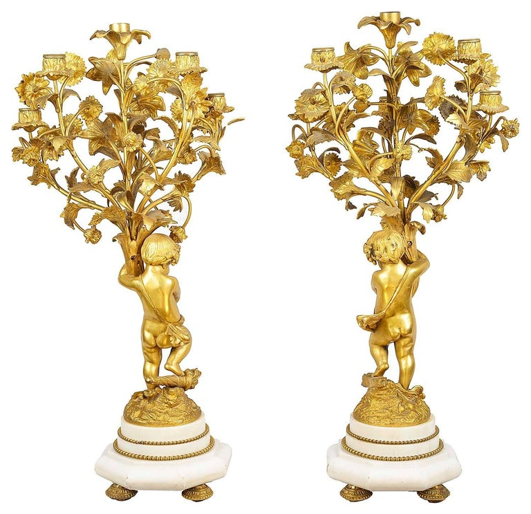 Gilt Louis XVI Style Candelabra, 19th Century For Sale