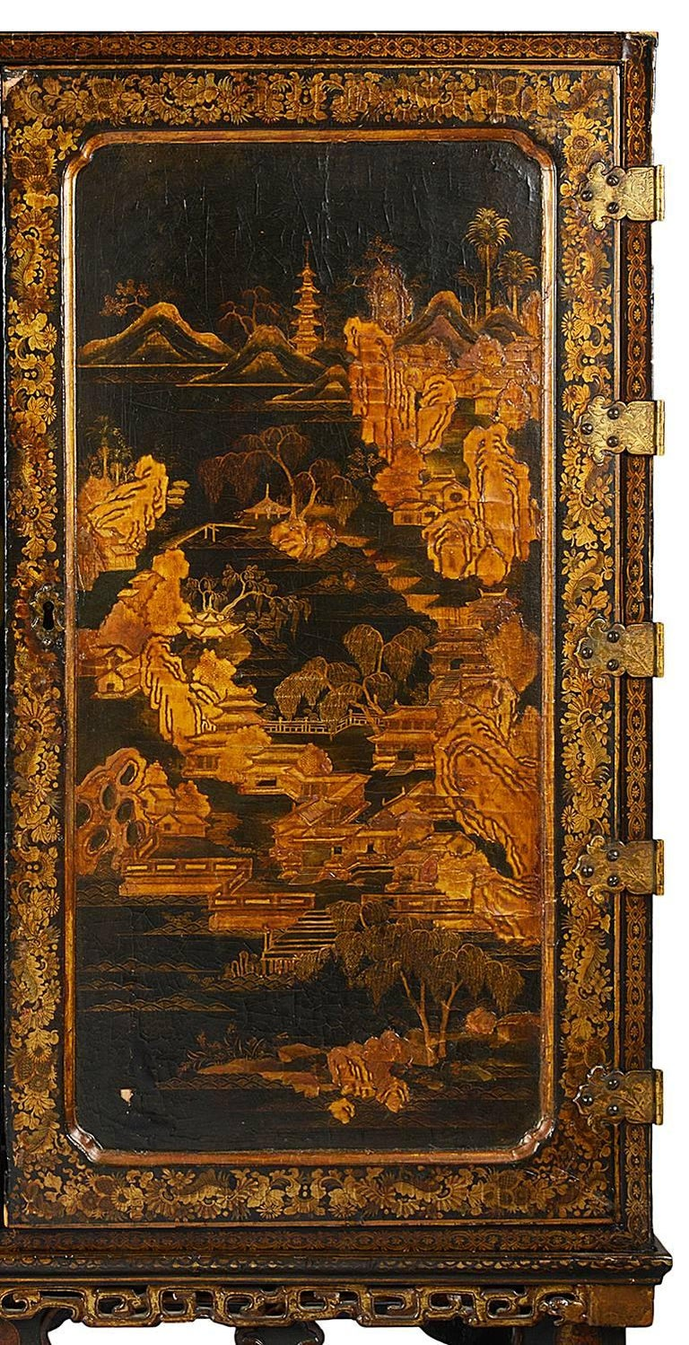 Chinese Export 18th Century Lacquer Cabinet on Stand For Sale