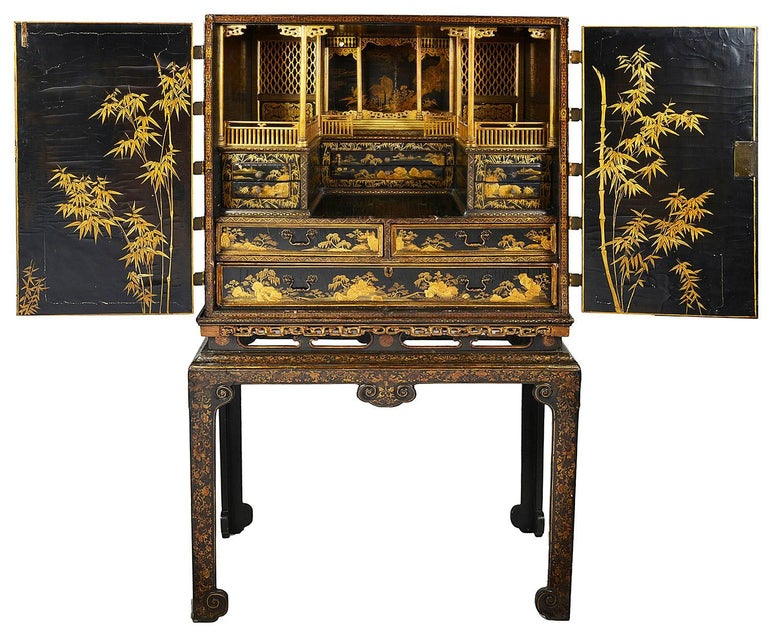 Chinese 18th Century Lacquer Cabinet on Stand For Sale