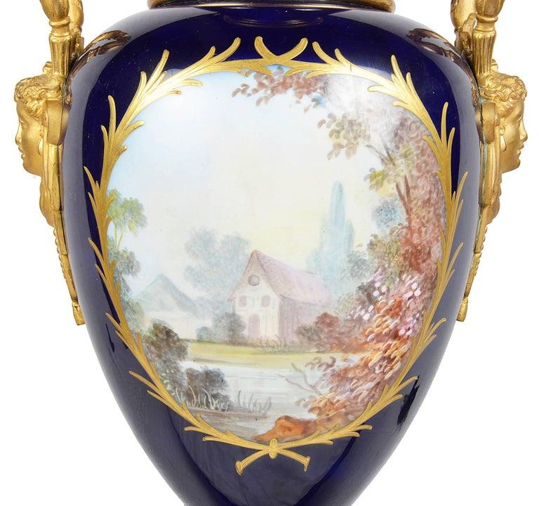 Hand-Painted Impressive Sèvres Style Porcelain Vase, 19th Century For Sale