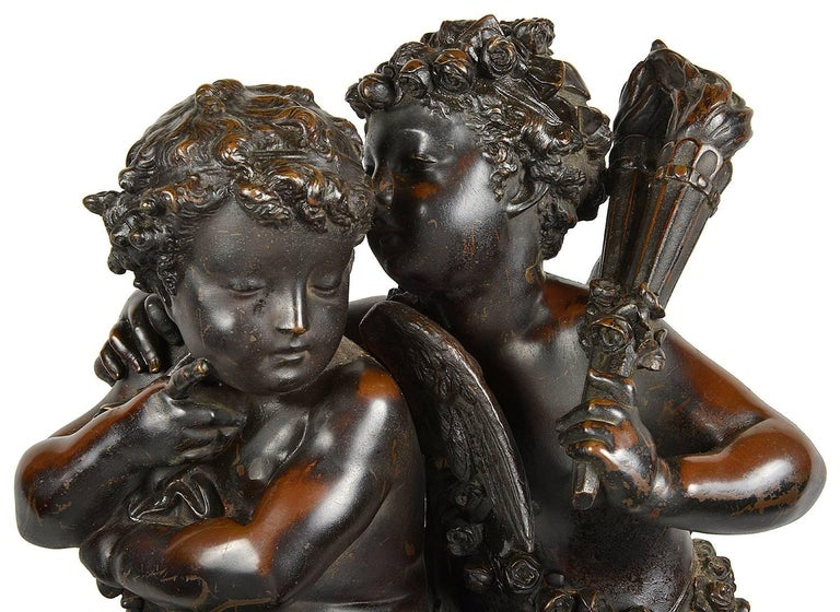 A very good quality 19th century bronze statue of playing whispers, one seated, one standing. Signed; Carrier-Belleuse. 1824-1887 Albert-Ernest Carrier-Belleuse was a French sculptor. He was one of the founding members of the Société Nationale des