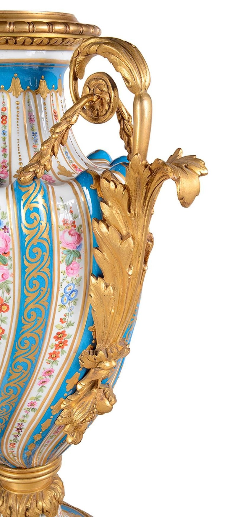Hand-Painted Fine Quality Pair of French Sevres Style Porcelain Vases For Sale
