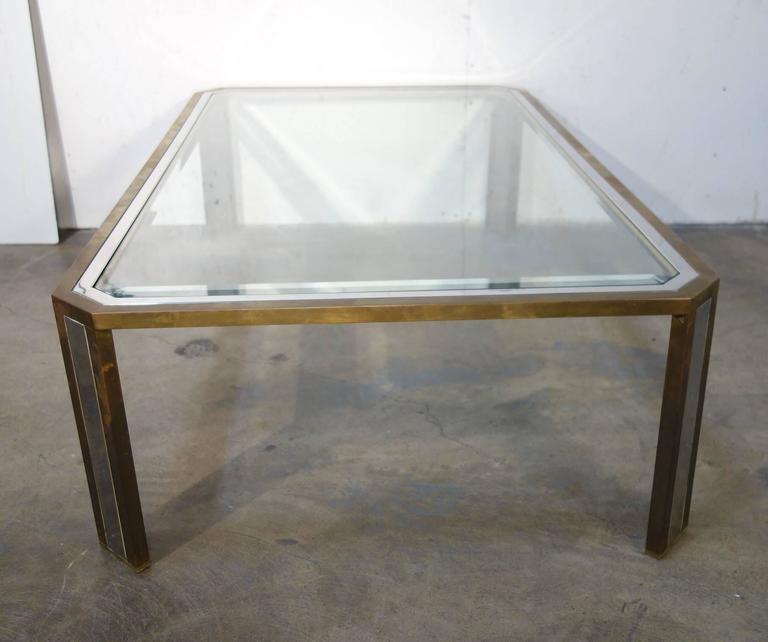 Artimeta Attributed Square Metal And Glass Coffee Table At: Mid-Century Italian Design Coffee Table In Steel And Brass