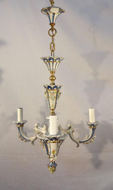 Antique Italian Porcelain Capodimonte Little Chandelier at