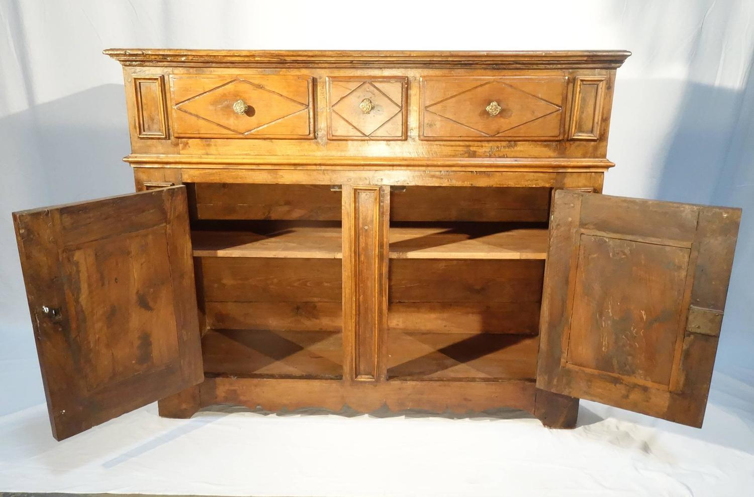 17th Century Style Antique Rustic Italian Walnut Credenza