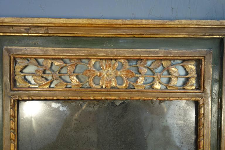 Antique Italian Gold Gilded And Painted Mirror Early