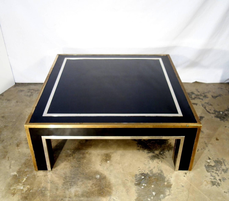 Mid Century Coffee Table Black: Italian Mid-Century Black Square Metal Coffee Table With