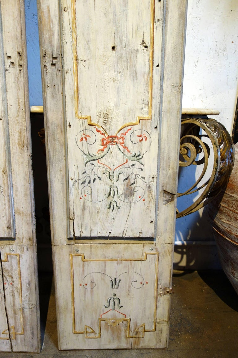 Wood Antique Italian Pair of Hand Painted Door Panels from Arezzo Tuscany Circa 1820 For Sale