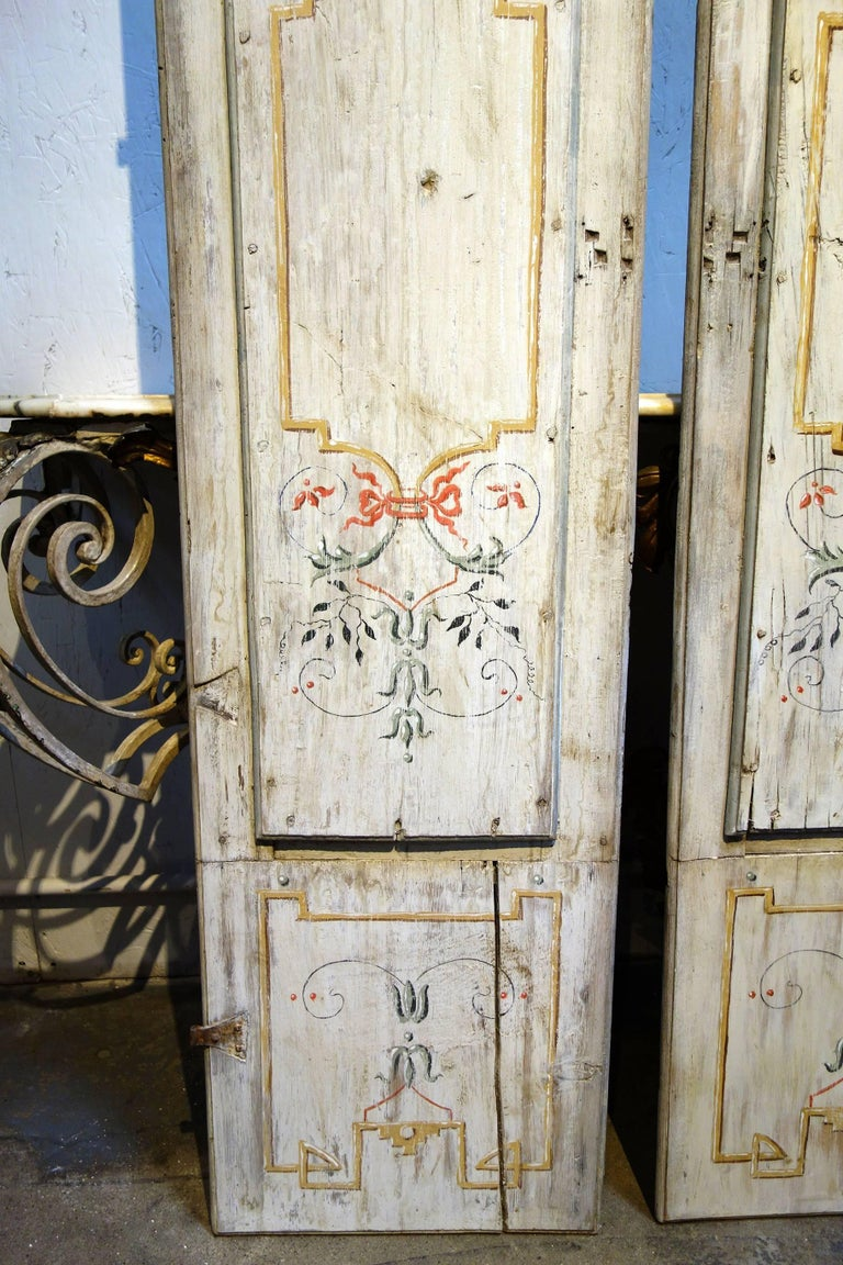 Early 19th Century Antique Italian Pair of Hand Painted Door Panels from Arezzo Tuscany Circa 1820 For Sale