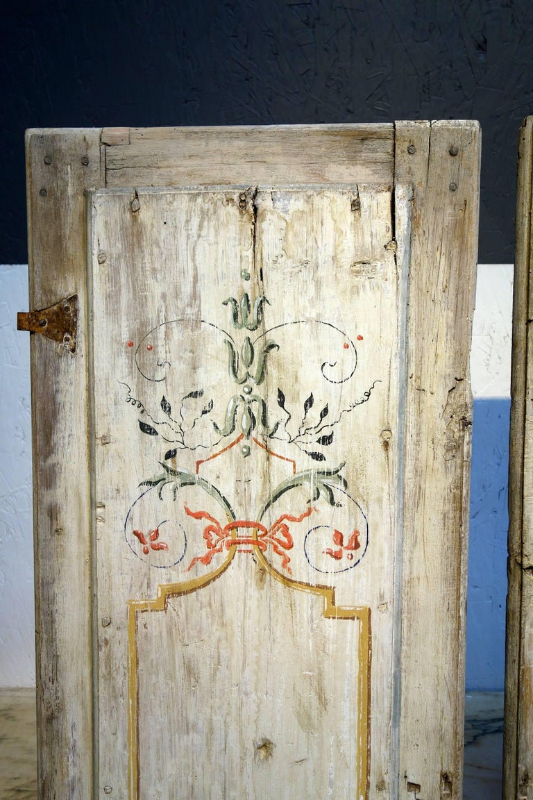 Antique Italian Pair of Hand Painted Door Panels from Arezzo Tuscany Circa 1820 In Good Condition For Sale In Encinitas, CA