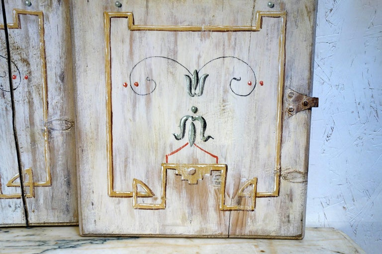 Romantic Antique Italian Pair of Hand Painted Door Panels from Arezzo Tuscany Circa 1820 For Sale