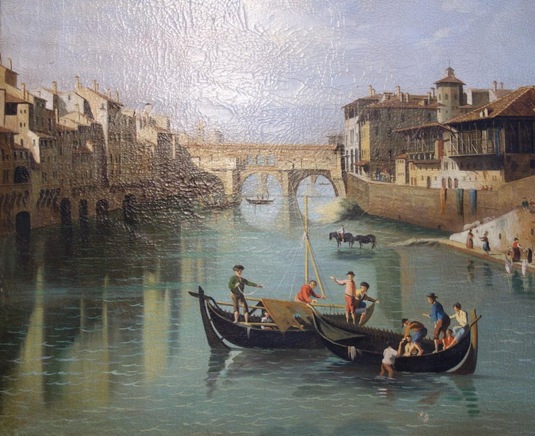 Late 19th century figural tempera painting on canvas. Nice architectural perspective along the Arno River in Florence, with gondolier patrons, the Ponte Vecchio, Santa Maria del Fiore, and The Duomo rising from the distance. Soft greens and blues