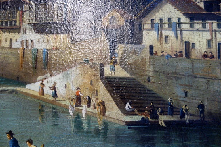 Hand-Painted Renaissance Style Painting of Ponte Vecchio Lungo Arno River, Florence For Sale