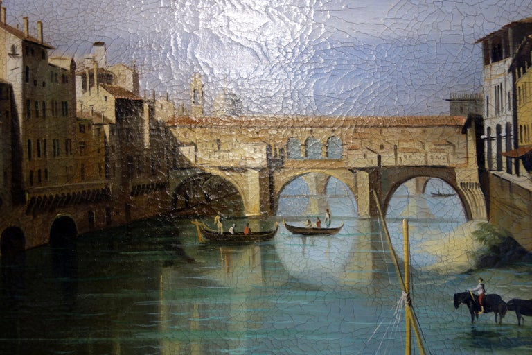 Renaissance Style Painting of Ponte Vecchio Lungo Arno River, Florence For Sale 1