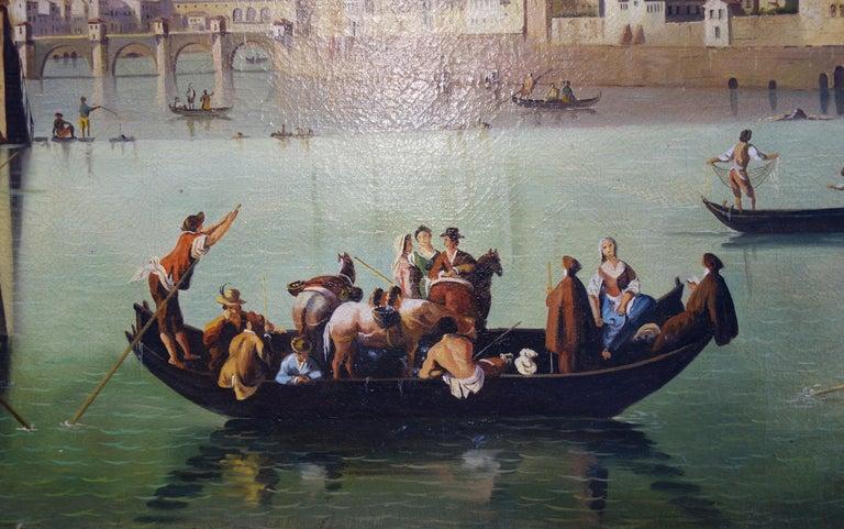 Hand-Painted Renaissance Style Painting of Arno River, Ponte Vecchio, Palazzo Vecchio e Duomo For Sale