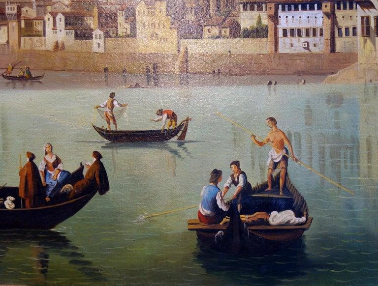 Renaissance Style Painting of Arno River, Ponte Vecchio, Palazzo Vecchio e Duomo In Good Condition For Sale In Encinitas, CA