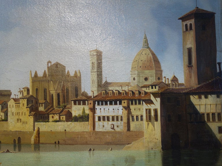 19th Century Renaissance Style Painting of Arno River, Ponte Vecchio, Palazzo Vecchio e Duomo For Sale