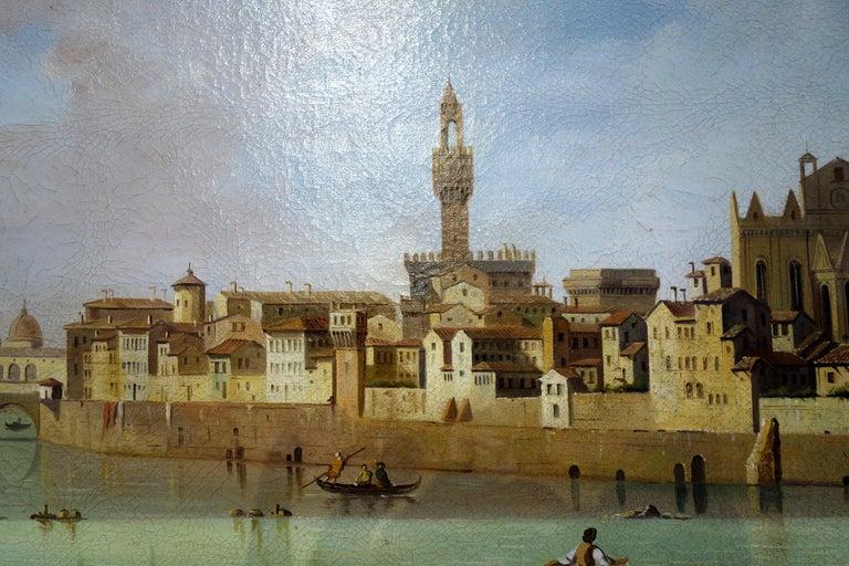 Canvas Renaissance Style Painting of Arno River, Ponte Vecchio, Palazzo Vecchio e Duomo For Sale