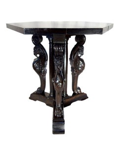 Antique Italian Renaissance Style Griffin Carved Walnut Hexagonal Entry Table