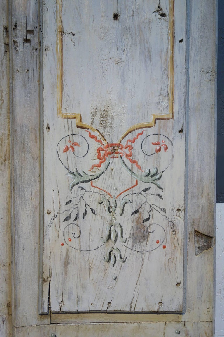 Antique Italian Pair of Hand Painted Door Panels from Arezzo Tuscany Circa 1820 For Sale 2