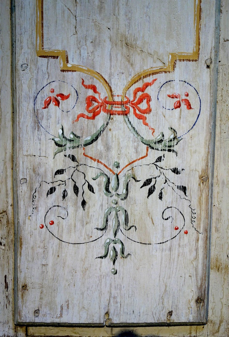 Antique Italian Pair of Hand Painted Door Panels from Arezzo Tuscany Circa 1820 For Sale 5