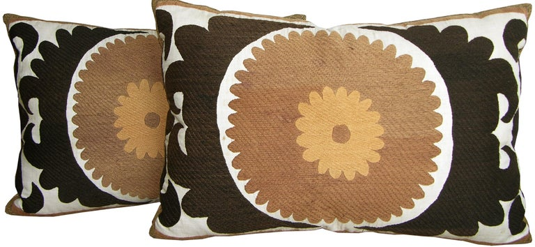 Unknown Pair of Suzani Pillows, circa 1920  1587p   1588p  :   Y & B Bolour For Sale