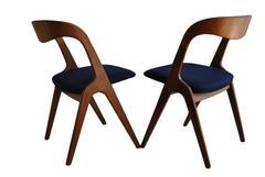 Mid-century, Re-upholstered Set of 4 Vamo Sonderborg chairs.
