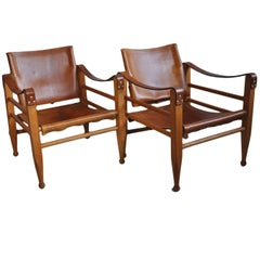 Pair of Børge Mogensen, Aage Bruun Safari Chairs