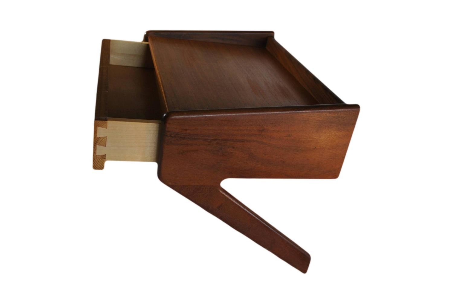 Danish nightstands pair of floating wall hung bedsides at for Wall hung nightstand