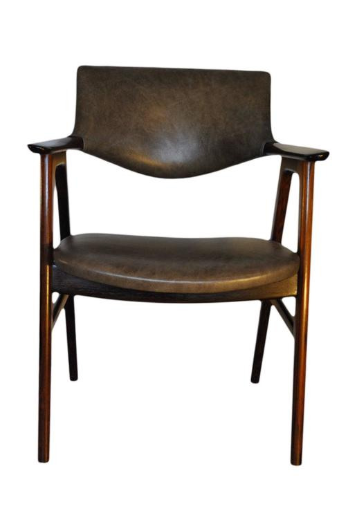 Erik Kirkegaard, Set of Four Chairs in Palisander and Leather 5