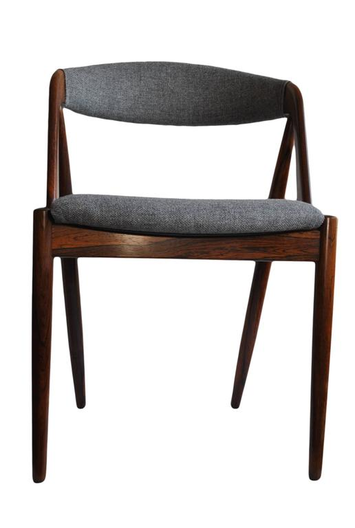 Mid-Century Modern Set of Four Rosewood Kai Kristiansen Dining Chairs For Sale