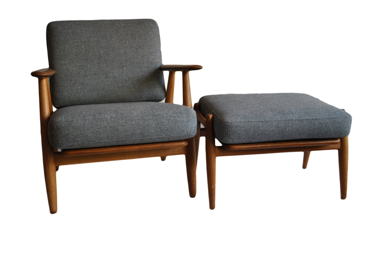 Hans J Wegner Cigar Chair With Footstool, Original, 1950S Getama