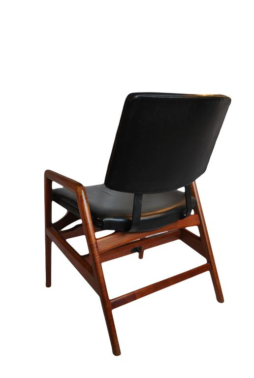 Danish Teak And Leather Desk Chair Unique And Height