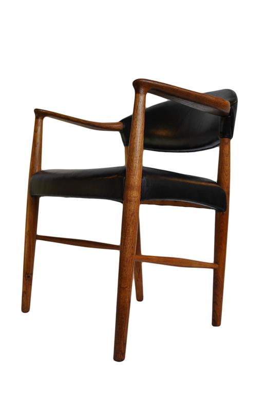 Kurt olsen chair fully reupholstered in black leather for Reupholstered furniture for sale